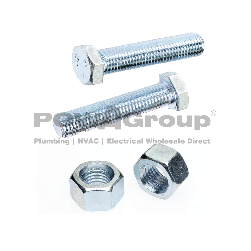 Bolt & Nut Hex 4.6 Z/P 10mm x 35mm