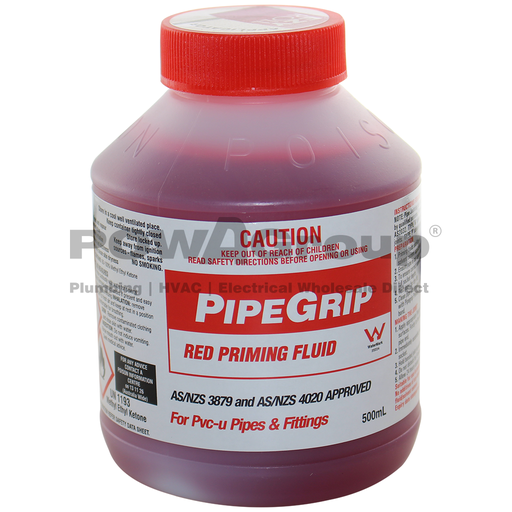[06RPRIMEF500R] PVC Priming Fluid - Red - Pipe Joining 500ml with Built in Roller Applicator