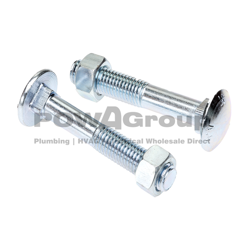 "[07ACHBZ000] Cup Head Bolt & Nut Z/P 1/4 x 1"" (6.5mm x 25mm)"