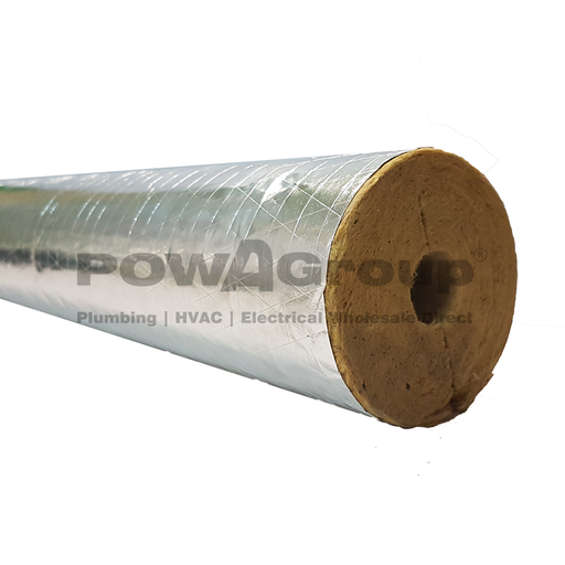 [25ECO4ZWLD11438] POWATHERM THERMAROC 650 4Z 114.3 id X 38 WALL X 1 MTR- STD DUTY FOIL ROCKWOOL NON-COMBUSTIBLE AS1530.1-1994 (BOX QTY x 8)