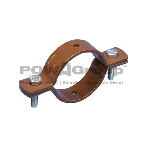[10DBCU80] Double Bolted Clamp CU P/Coated Brown 80mm NB 76.1mm OD