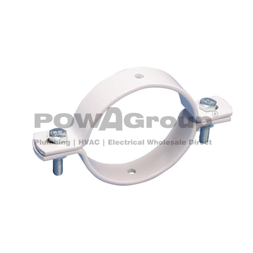 [10DBPVC50] Double Bolted Clamp 50mm NB 55.7mm OD WHITE POWDERCOAT FINISH FOR PVC / HDPE