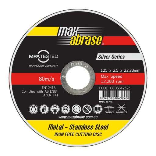 [13AACOD006] Metal Cut-Off Disc PowAGroup 125mm x 2.5mm x 22mm