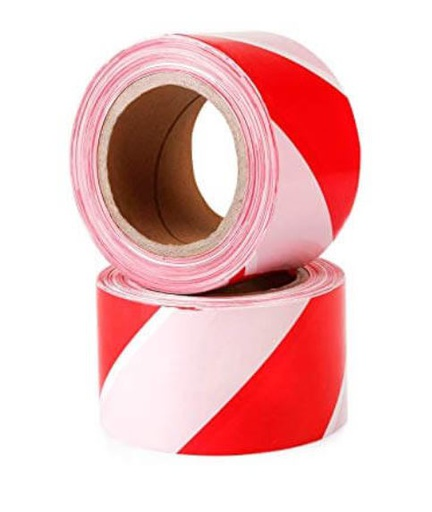 [14HTAPE7550] Hazard Tape - Red & White Tape  (Roll) 75mm x 50m