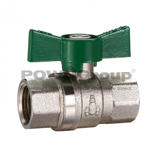 [26VALBAL20BF] Ball Valve 20mm (FI x FI) Butterfly Handle - DR Brass - Suitable for Gas & Water