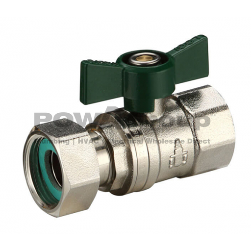 [26VALBAL16LNW] Ball Valve 16mm (FI x FI Loose Nut) Butterfly Handle - DR Brass - Suitable for Water