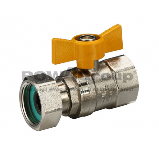 [26VALVBAL16LNG] Ball Valve 16mm (FI x FI Loose Nut) Yellow Butterfly Handle - DR Brass - Suitable for Gas