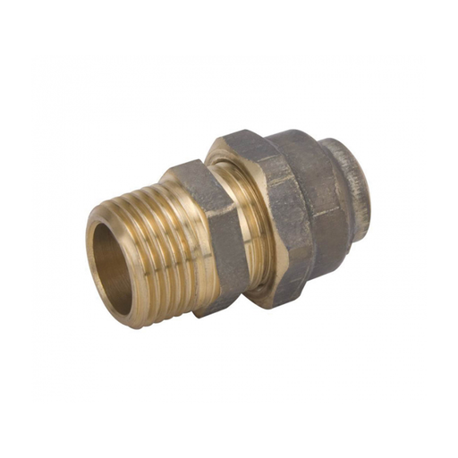 [26UNION15MIX15CBR] Compression Union - 15 MI Thread x 15 C Flared Compression Nut - Brass